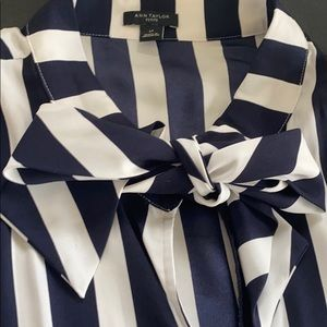 Ann Taylor Navy & White Striped Blouse with bow